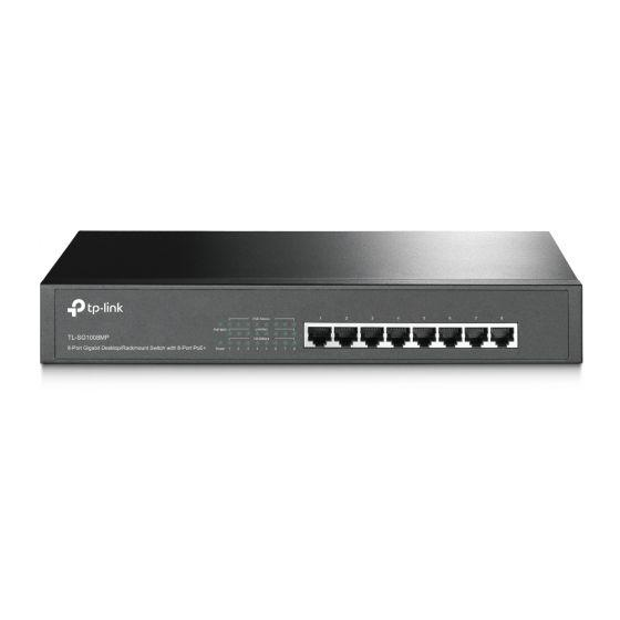 TP-Link Gigabit Desktop Switch, 8 Ports, Black- TL-SG1008MP