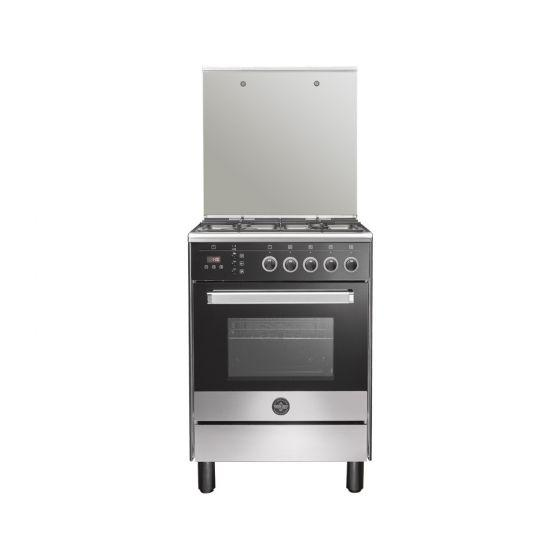 La Germania Gas Cooker, 4 Burners, Stainless Steel/Black- 6M80G4A1X4AWW