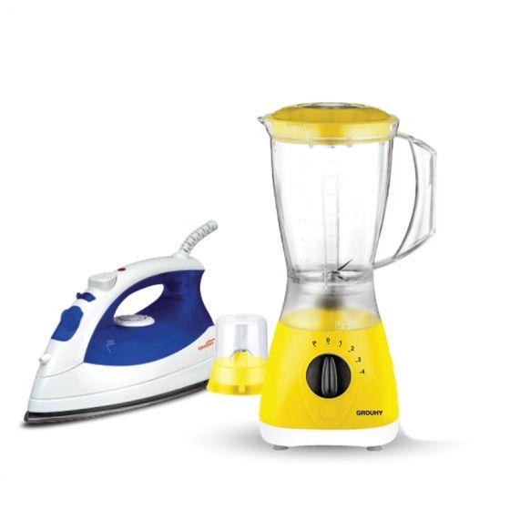 Set of Grouhy Steam Iron and Blender with 2 Grinders