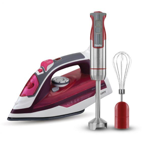 Set of Grouhy Hand Blender with Attachments and Steam Iron