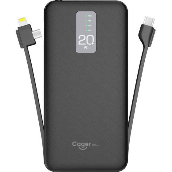 Cager Power Bank 20000 mAh With Built-In 2 Cables, 3 USB Ports, Black- P20H