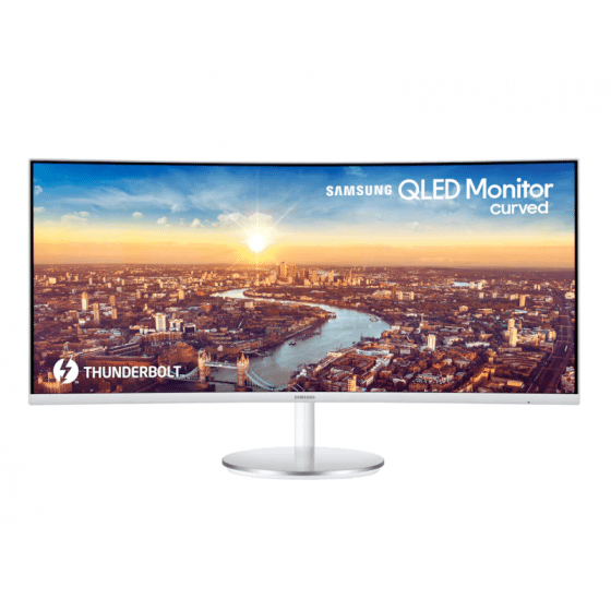 Samsung Thunderbolt 3 Professional 34 Inch, QLED Curved Monitor, White - LC34J791WTUXEN