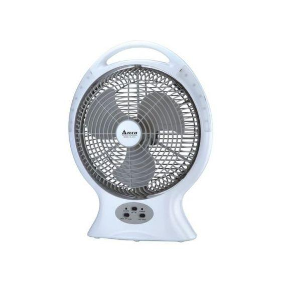 Teco Table Fan, 12 Inch With Rechargeable LED, White- Kl-2612