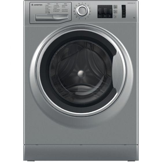 Ariston Front Load Automatic Washing Machine, 8KG, Inverter Motor, Silver- NM10 823 SS EX