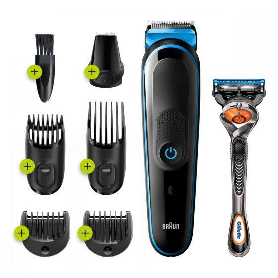 Braun All in One Hair Trimmer with Gillette Fusion5 ProGlide Razor, Black/Blue - MGK3245