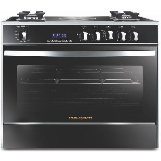 Premium Gas And Electric Cooker, 5 Burners, Stainless Steel Black- PRM6090GS-AC-383-IDSH-S-F-2W