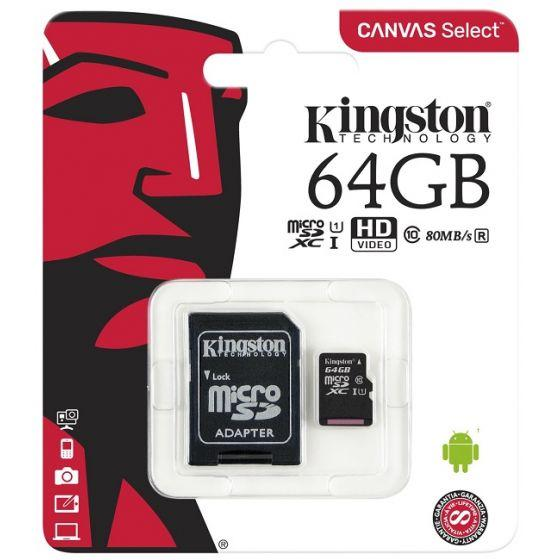 Kingston Canvas Select Class 10 MicroSDXC Memory Card, 64GB - SDCS/64GB
