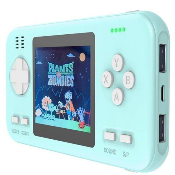 Wanle Power Bank with Built-in Video Handheld Gaming Console, 8000mAh, Blue - D-12