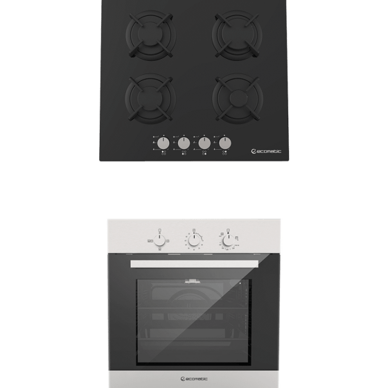 Ecomatic Built-In Set Of Gas Hob, 4 Burners- S607RBC, And  Gas Oven With Grill, 64 Liters- G6404T