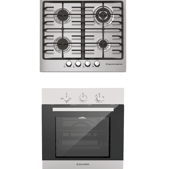 Ecomatic Built-In Set Of Gas Hob, 4 Burners- S603X, And Gas Oven With Grill, 64 Liters- G6404T