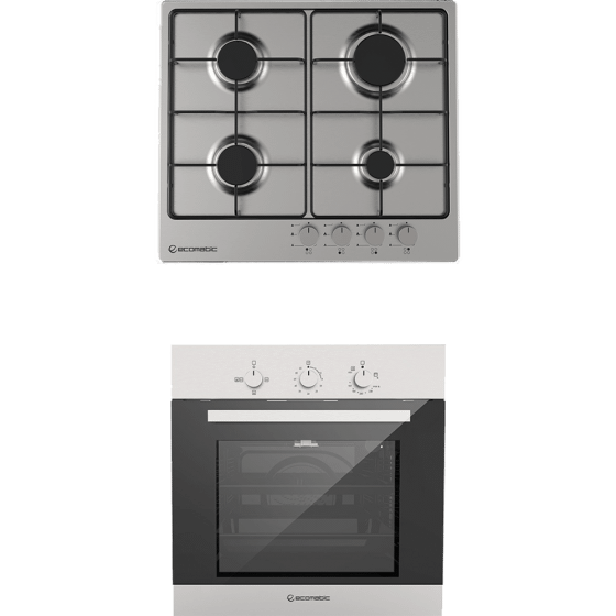Ecomatic Built-In Set Of Gas Hob, 4 Burners- S603BS, And  Gas Oven With Grill, 64 Liters- G6404T