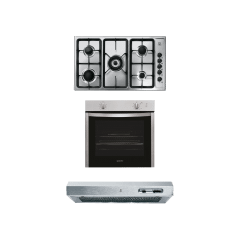 Indesit Set Of Gas Hob 90cm And Gas Oven 60cm With Electric Grill And Hood 90cm - Silver