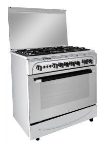 Fresh Moderno Gas Cooker, 5 Burners, Stainless Steel, 80 cm - 2032