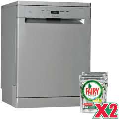Ariston Dishwasher, 14 Persons, 7 Programs, Silver- LFC 3C26 X, With 2 Fairy Dishwashing Powder Free Gift