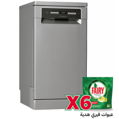 Ariston Dishwasher, 10 Persons, 8 Programs, Silver- LSFO 3T223 W X, With 6 Fairy Dishwashing Capsules Free Gift