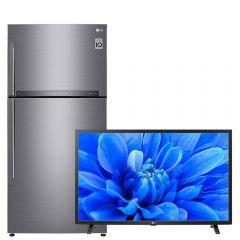 LG No Frost Refrigerator, 418 Liters, Inverter Motor, Platinum Silver- GR-H822HLHU, With   32 Inch HD LED TV Built-in Receiver - 32LM550BPVA