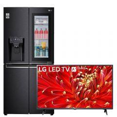 LG No-Frost Refrigerator, 508 Liters, Inverter Motor, Black- GC-X22FTQEL, With 43 Inch FHD Smart LED TV with Built-in Receiver - 43LM6370PVA