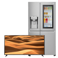 LG No-Frost Refrigerator 618 Liters, Inverter Motor- GC-X247CSBV, With  55 Inch UHD Smart LED TV, With Built-In Receiver- 55UM7095PVC
