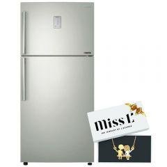 Samsung No Frost Twin Cooling Refrigerator, 516 Liters, Inverter Motor, Silver- RT50K6100S8 with Free Gift L'azurde Gold Necklace