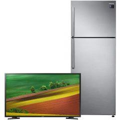 Samsung No-Frost Refrigerator, 453 Liters, Inverter Motor, Silver-  RT46K6100S8, With 32 Inch HD Smart LED TV With Built-in Receiver - UA32T5300AUXEG