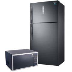 Samsung No-Frost Refrigerator, 588 Liters, Inverter Motor, Black- RT58K7050BS, With Microwave Oven With Grill, 40 Liters, Silver - GE614ST