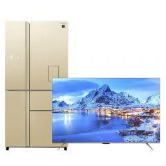 Sharp No-Frost Refrigerator, 650 Liters, Inverter Motor, Champagne- SJ-FSD910N-CH, With 55 Inch 4K UHD Frameless Smart LED TV with Built-in Receiver