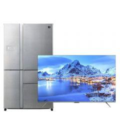 Sharp No-Frost Refrigerator, 660 Liters, Inverter Motor, Stainless Steel- SJ-FP910N-SS, With 55 Inch 4K UHD Frameless Smart LED TV with Built-in Receiver