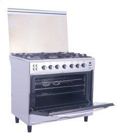 Universal Iron Touch Gas Cooker, 5 Burners, Silver - 9605 I-7ST