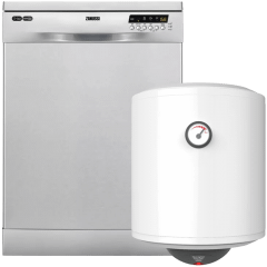 Zanussi Freestanding Dishwasher, 5 Programmers- ZDF26004XA, With Olympic Junior Electric Water Heater, 45 Liters
