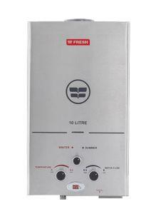 Fresh Gas Water Heater with Chimney, 10 Liters, Stainless Steel - 10 L stainless