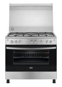 Zanussi Freestanding Gas Cooker, 5 Burners, Stainless Steel, 90 cm - ZCG91236XA