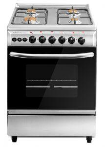 Royal Freestanding Light Gas Cooker, 4 Burners, Silver, 60×60 cm