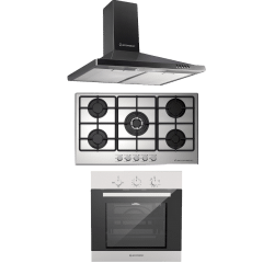 Ecomatic Built-In Set Of Gas Hob 5 Burners-S9003M, Hood 90CM- H95B, And Gas Oven With Grill, 64 Liters- G6404T