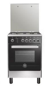 La Germania Gas Cooker, 4 Burners, Stainless Steel/Black- 6M80GRB1X4AWW