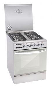 Royal Freestanding Crystal Cast Gas Cooker, 4 Burners, Stainless Steel, 60×60 cm