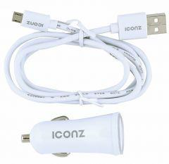 ICONZ Car Charger with Micro USB Cable, 2 Ports, White - ICCR224W-WH