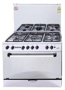 Fresh Plaza Freestanding Gas Cooker, 5 Burners, Stainless Steel