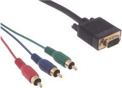 Keendex VGA to 3 RCA Output Video Cable, 1 Meter, Black- Kx2386