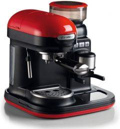 Ariete Moderna Espresso Coffee Maker with Integrated Coffee Grinder, 15 Bar, Red/Black - 1318