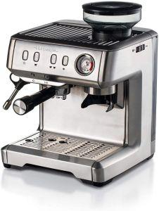 Ariete Espresso Coffee Maker with Integrated Coffee Grinder, 15 Bar, Silver - 1313