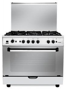 Fresh Freestanding Plaza Gas Cooker, 5 Burners, Stainless Steel, 90 cm