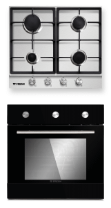 Fresh Set Of Built-In Gas Hob, 4 Burners And Electric Oven With Grill