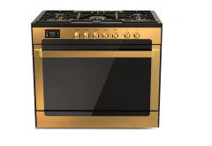 Fresh Gold Matrix Freestanding Gas Cooker, 5 Burners, Black- 9992