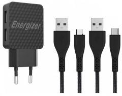 Energizer Lifetime Wall Charger With USB-C and Micro USB Cables, 2.4A - Black