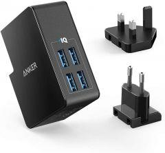 Anker PowerPort 4 Lite Wall Charger, 4 Ports, 27W, Black - A2042L11