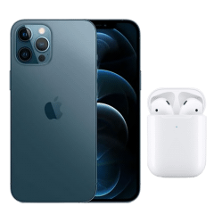 Apple iPhone 12 Pro Max, 128GB, 6GB RAM, 5G - Blue with Apple Premium Service Provider and AirPods 2nd Generation