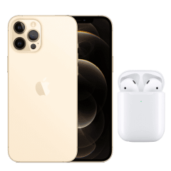 Apple iPhone 12 Pro Max, 128GB, 6GB RAM, 5G - Gold with Apple Premium Service Provider and AirPods 2nd Generation