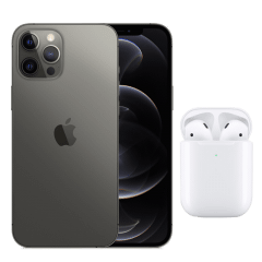 Apple iPhone 12 Pro Max, 128GB, 6GB RAM, 5G - Graphite with Apple Premium Service Provider and AirPods 2nd Generation