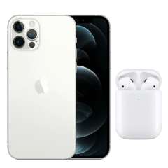 Apple iPhone 12 Pro Max, 128GB, 6GB RAM, 5G - Silver with Apple Premium Service Provider and AirPods 2nd Generation