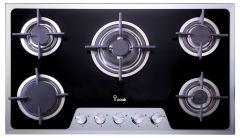 i-Cook 5 Burners Gas Built-In Hob, Stainless Steel, 90 cm - BH5090G-8-IS